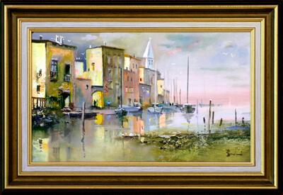 Laszlo Budai painting with frame