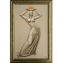 Attila Boros: Girl with orange - 80x50cm