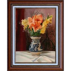 F. Szabó János: Kardvirágok korondi vázában - 40x30 cm