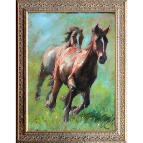 Walter Gábor: Goats on the meadow - 80x60 cm