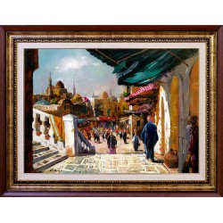 Alim Adilov: Market place 50 x 70 cm - oiriginal paintings