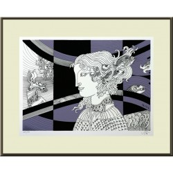 Endre Szász: Pearl-haired girl - with frame 45x55cm