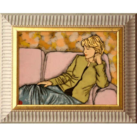 Paula Hernádi: Woman sitting on sofa - 15x20cm