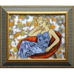 Paula Hernádi: Kobieta siedząca w fotelu - 20x25 cm