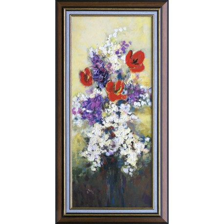 Balogh Ervin: Orgona és tulipán - 70x30cm
