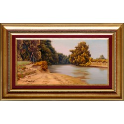 Miklós Bodor: On the riverbank - 20x40cm