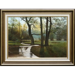 János F. Szabó: Stream between the hills - 30x50cm