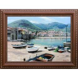 Péter Keleti: Small Italian town - 50x70cm