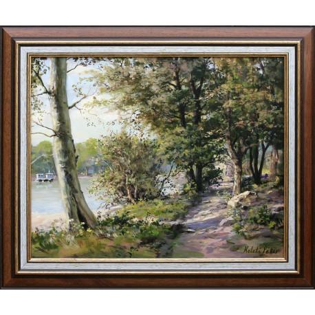Péter Keleti: Promenade a riverbank - 40x50 cm