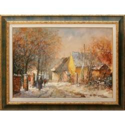 Mág Tamás: Salföldi street in winter - 50x70CM