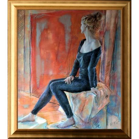 Jozsef Karpati: Girl in black on a red background - 70x60cm