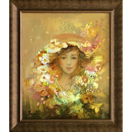 László Budai: Among flowers - 60x50cm