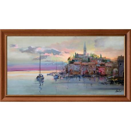László Budai:Dusk on the Adriatic - 60x120cm