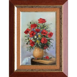 Rajczi Zoltán: Pipacsok vázában - 30x20cm