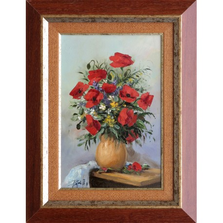 Zoltán Rajczi: Poppies in a vase - 30x20cm