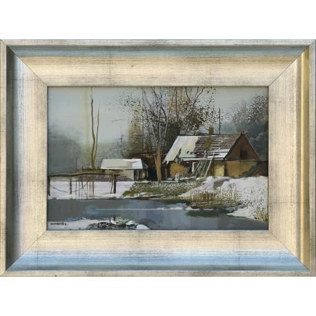László Zombori: Fish farm in winter - 20x30cm