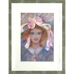 Valéria Orsovai: Little girl with ribbon - 40x30cm