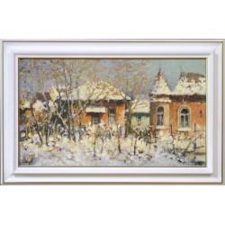 Mág Tamás: Gödi udvar télen - 40x70 cm