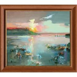László Budai: Blushing sunset - 60x70cm