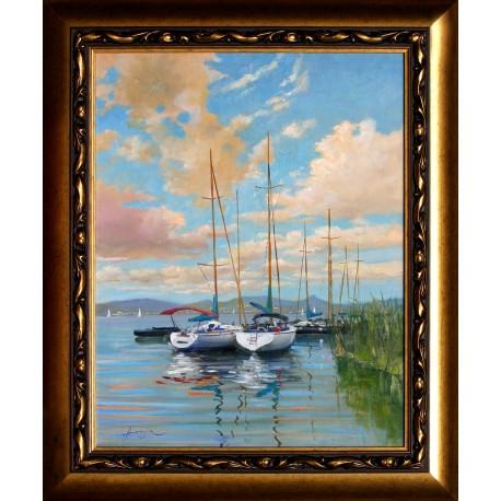 Zoltán Hornyik: Sailboats on Lake Balaton - 50x40cm