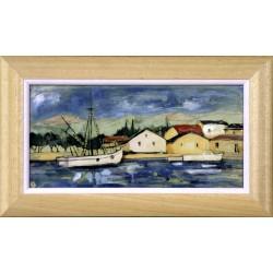 Fehér Margit: Dalmát kikötő - 15x30 cm