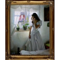 László Gulyás: By the window - 50x40 cm