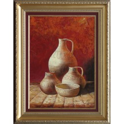 Kabul Adilov: Jugs in red - 49x35 cm