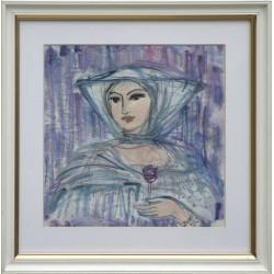 Ilda Fodor: Dama w kapeluszu - 20x20cm