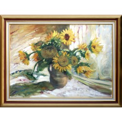Renáta Palásti: Still life with sunflower - 50x70cm