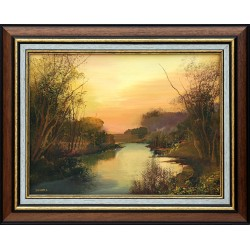 László Zombori: Sunset on the shore - 30x40cm