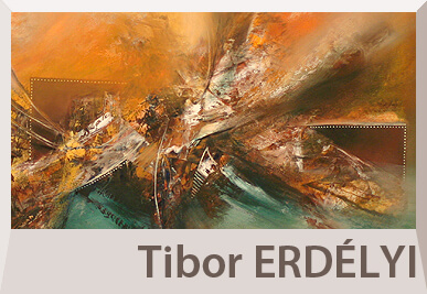Tibor Erdelyi abtract paintings on offer